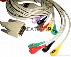 日本光電運動平板心電線,歐標,扣式