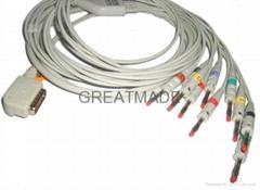 铃谦PC-109心电图机电缆及导联线 (4.0 香蕉插 )