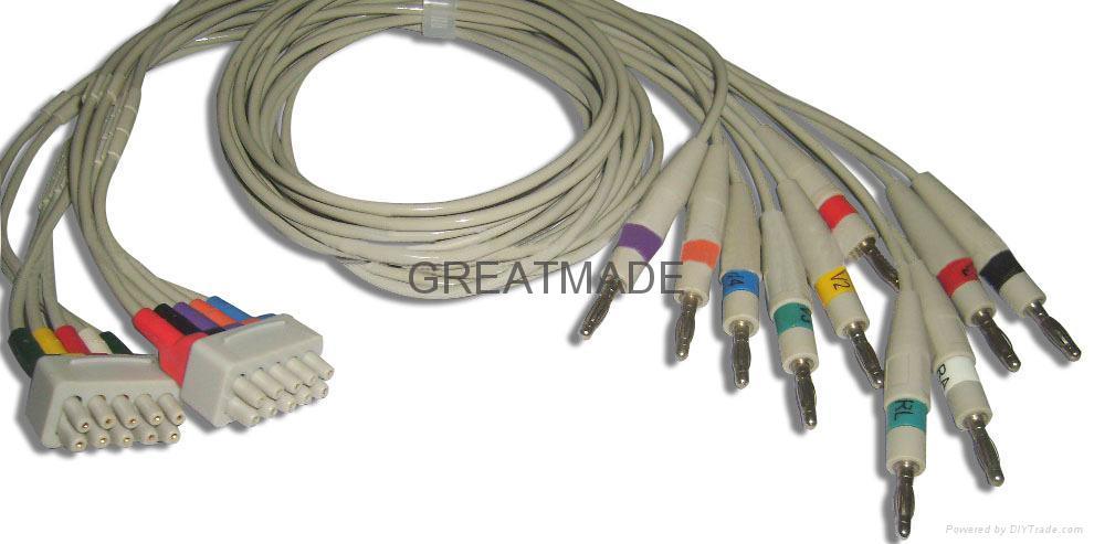 馬葵MAC500/MAC-1200心電圖機導聯線, 香蕉插 1