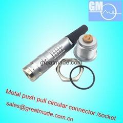 兼容FGG / EGG 2K3针推挽圆形金属直插头/固定插座