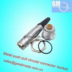 兼容FGG / EGG 2K16針推挽圓形金屬直插頭/固定插座