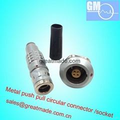 兼容FGG / EGG 0K4针推挽圆形金属直插头/固定插座