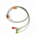 Compatible ECG leadwires cable 3-leads,IEC, Snap/Grabbe , for patient monitor,