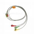兼容ECG导线电缆3芯,IEC,按扣/拉线,用于病人监护仪
