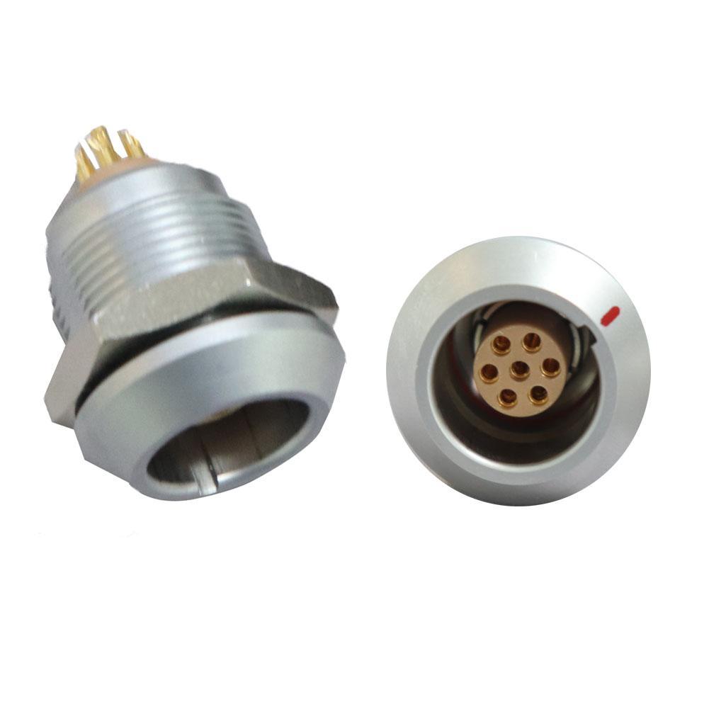 兼容FGG / EGG 2K 7针推挽圆形金属直插头/固定插座 1