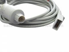兼容 Nihon Kohden有创血压电缆-转尤它接口有创电缆,5PIN