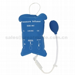 500ml重複使用輸液加壓袋增壓袋(藍色帶顯示器)網面醫用