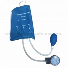 输血输液加压袋500ml重复使用输液加压袋带压力表(蓝色)网