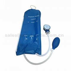 1000ml reusable infusion pressure bag with pressure gauge (blue) mesh surface