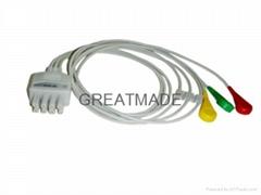 兼容于日本光電BR-913P 扣式歐標三導聯線