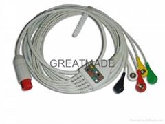 兼容于Bionet 直插式(一体式)5导欧标扣式电缆及导联线