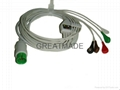 Spacelab one piece cable with 5-lead AHA Snap leadwires