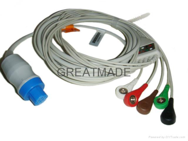 Datex one piece cable with 5-Lead,Snap , AHA leadwires  1