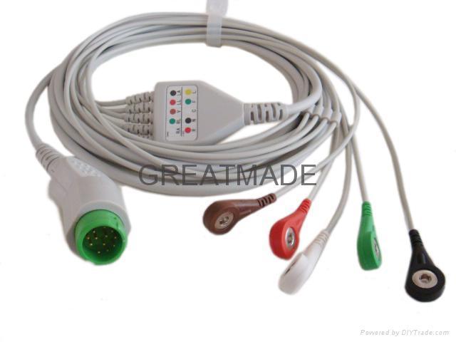 邁瑞PM5000 一體式電纜及5導扣式美標導聯線 1