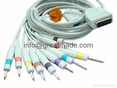 ShangHai Kohden EKG cable with leadwires (DIN 3.0 PLUG)