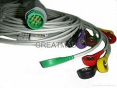 摩托拉心電圖機電纜及導聯線 , 扣式