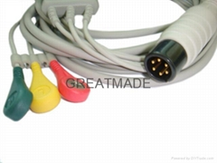 GE Pro1000 3-Lead ecg cable with 3-lead IEC snap ECG leadwires