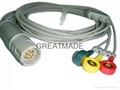 Drager 3-Lead ecg cable with 3-lead IEC