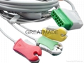 Nihon Kohden one piece cable with 3-lead grabber IEC leadwires