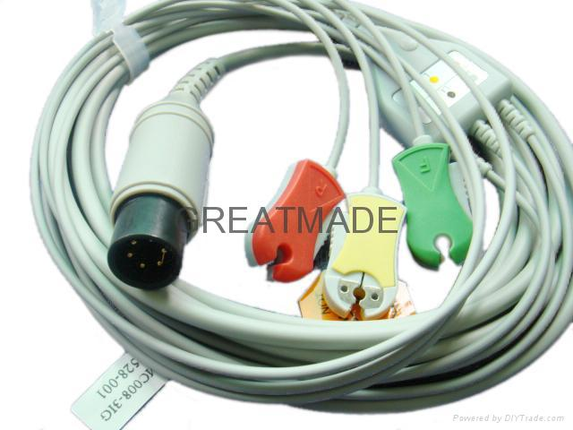 GE Pro1000 3-Lead ecg cable with 3-lead IEC grabber ECG leadwires  1