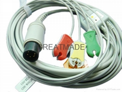 GE Pro1000 3-Lead ecg cable with 3-lead IEC grabber ECG leadwires