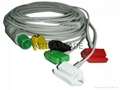 HELLIGE integrated cable with 5-lead IEC grabber leadwires