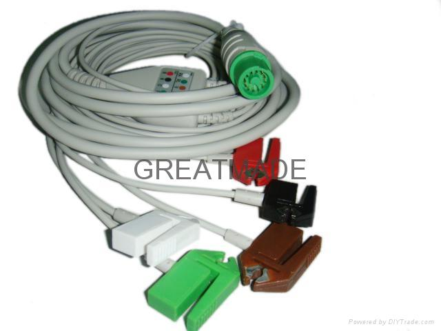 Fukuda integrated cable with 5-lead AHA grabber   leadwires   1