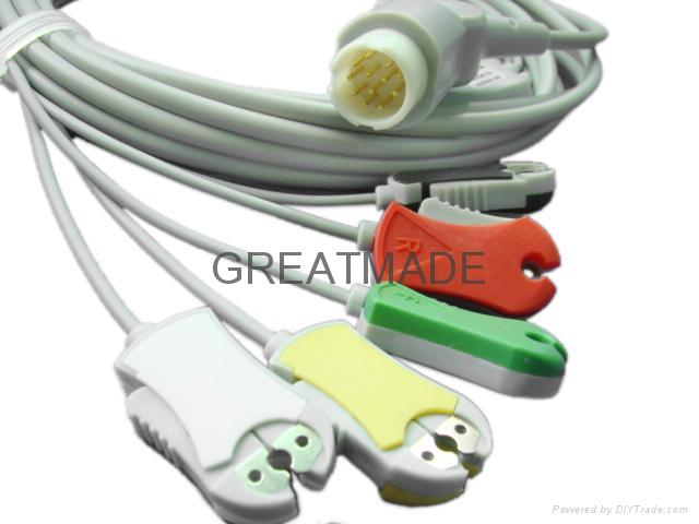 Mindray  PM5000 one piece cable with 5-Lead,Snap , AHA leadwires  1