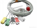 Bionet one piece Cable with 5-lead IEC Grabber leadwires