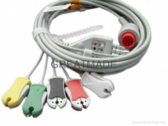 兼容于Bionet 直插式(一体式)5导欧标夹式电缆及导联线
