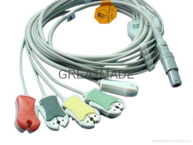 Biosys one piece cable with 5-lead ,AHA ,Snap Leadwires, straight  connector  1