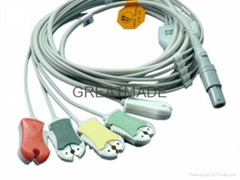 Biosys one piece cable with 5-lead ,AHA ,Snap Leadwires, straight  connector