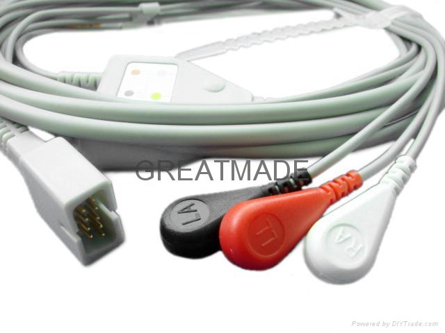 MEK one piece Cable with 3-lead AHA Snap  leadwires  1