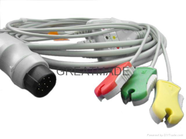 Nihon Kohden one piece ecg cable with 3-lead grabber leadwires, 8PIN    1