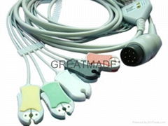 Nihon Kohden one piece ecg cable with 5-lead grabber leadwires, 8PIN
