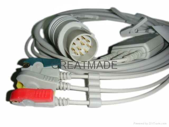 日本光電JC-763V 心電電纜及 3 導歐標夾式導聯線 1