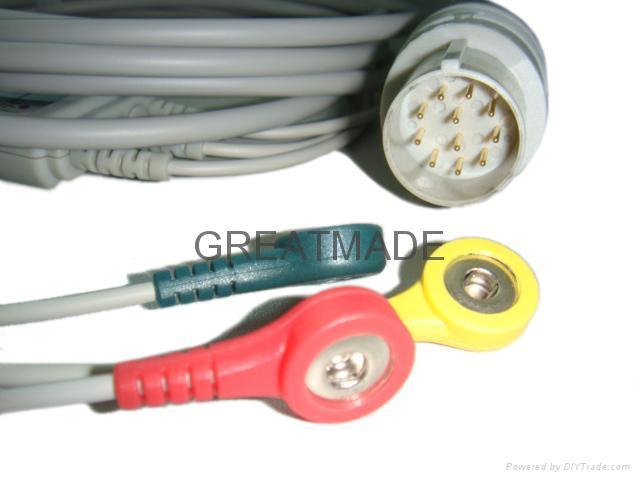 日本光电JC-763V 心电电缆及 3 导欧标扣式导联线