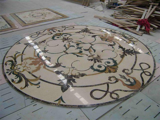 Marble Inlay Flooring Service : Marble water jet medallion patterns inlay kadsen