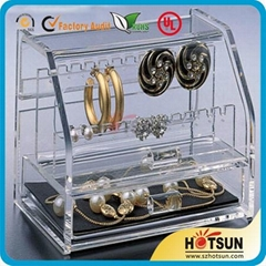 Acrylic jewelry display box perspex earring holder