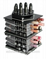 工厂定做 亚克力桌面化妆品收纳盒 360度旋转口红架 唇膏箱彩妆护肤架 5
