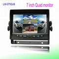 Car reverse camera system with quad monitor