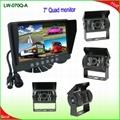 Bus backup rear view camera monitor system