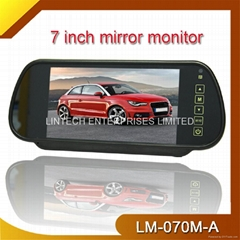 "7"" rear view lcd color mirror monitor with 2 videos input"