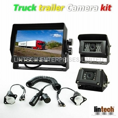 12~24V DC Truck trailer backup camera system with 7 Pin spring cable