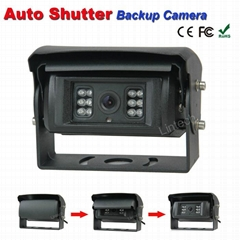 Auto shutter rear view camera for garbage trucks