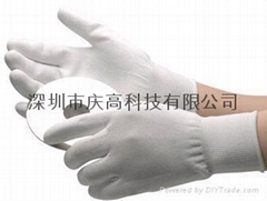尼龍PU塗掌塗指無塵手套銅纖維碳纖維PU塗掌塗指防靜電手套