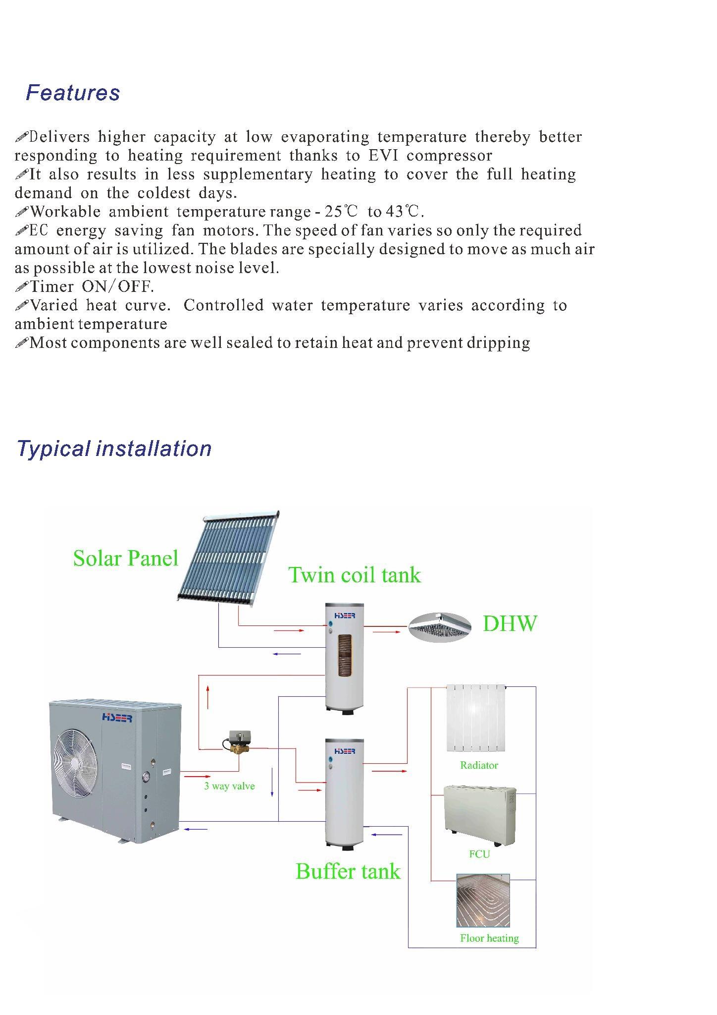 Monoblock EVI air source heat pump AS13S/L 5