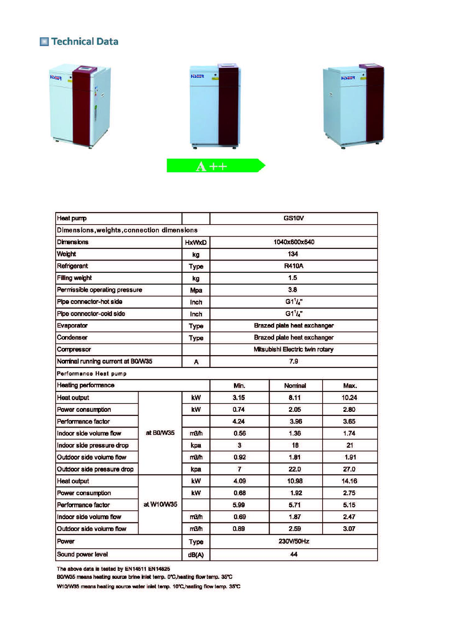 inverter heat pump specification