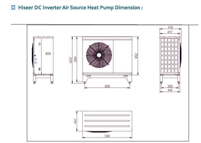 heat pump dimension