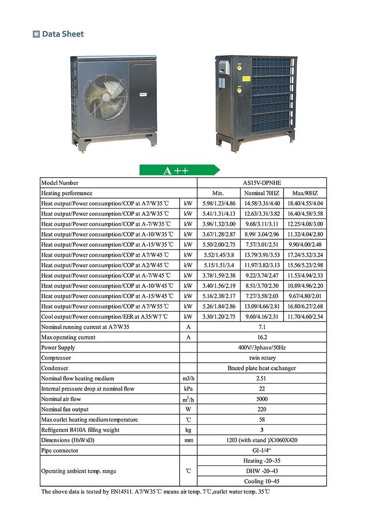 R410A DC inverter  heat pump 15KW three phase 7